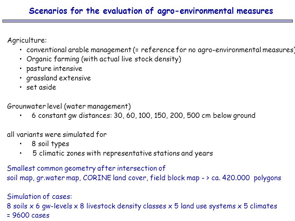 Scenarios for the evaluation of agro-environmental measures Agriculture: conventional arable management (= reference for no agro-environmental measure