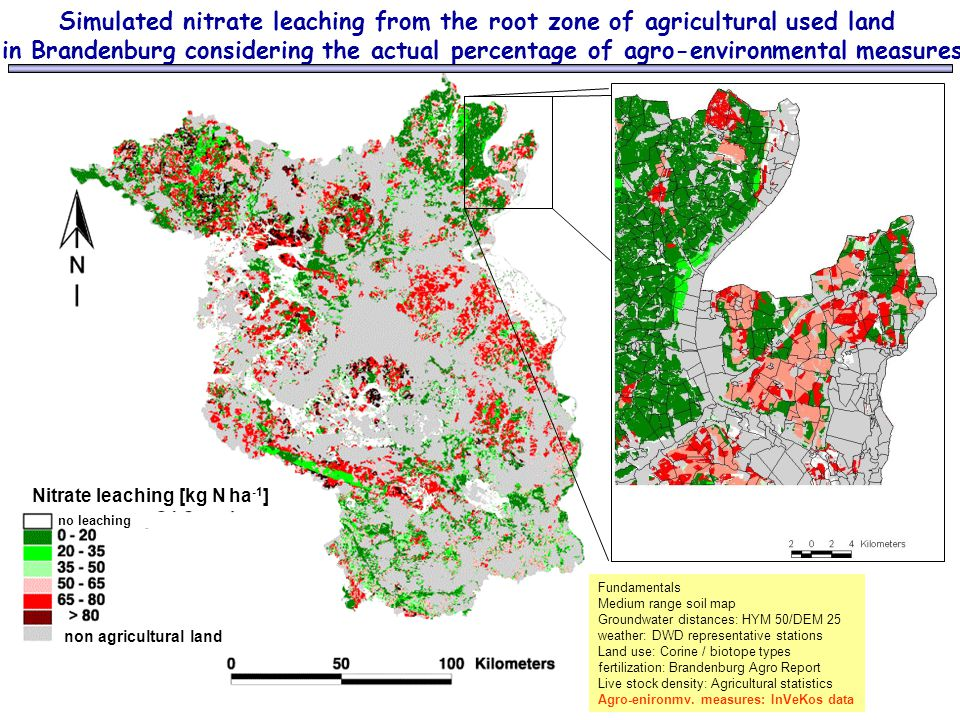 Simulated nitrate leaching from the root zone of agricultural used land in Brandenburg considering the actual percentage of agro-environmental measure