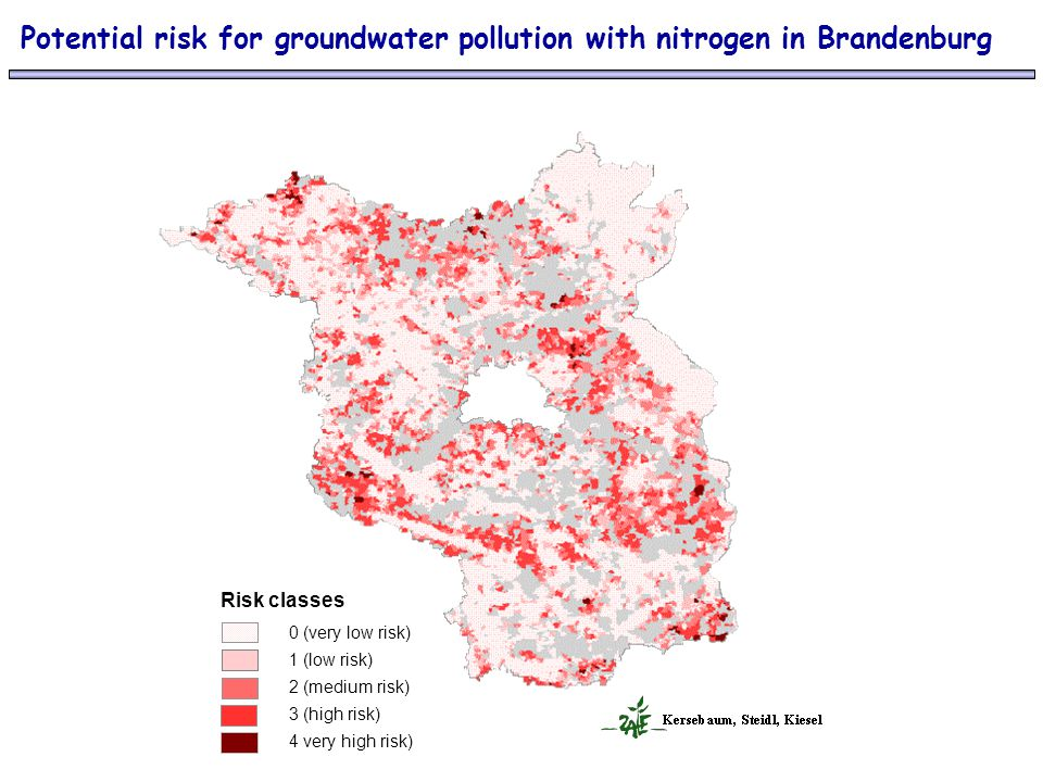 Potential risk for groundwater pollution with nitrogen in Brandenburg Risk classes 0 (very low risk) 1 (low risk) 2 (medium risk) 3 (high risk) 4 very high risk)