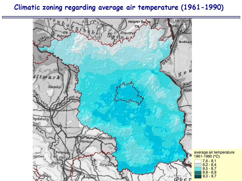 Climatic zoning regarding average air temperature (1961-1990)