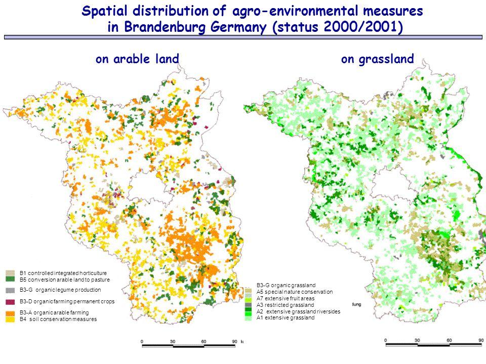 Spatial distribution of agro-environmental measures in Brandenburg Germany (status 2000/2001) on arable land on grassland B3-G organic grassland A5 sp