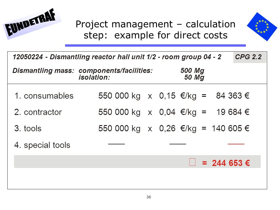 36 Project management – calculation step: example for direct costs 1. consumables550 000 kg x 0,15 €/kg = 84 363 € 2. contractor550 000 kg x 0,04 €/kg