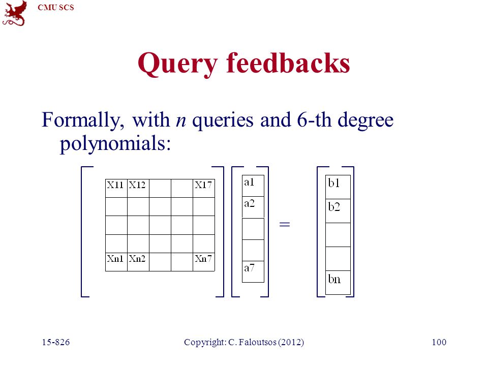 CMU SCS 15-826Copyright: C. Faloutsos (2012)100 Query feedbacks Formally, with n queries and 6-th degree polynomials: =