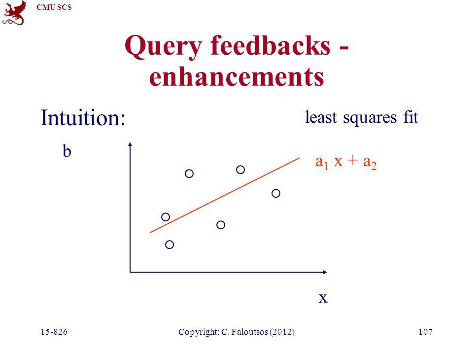 CMU SCS 15-826Copyright: C. Faloutsos (2012)107 Query feedbacks - enhancements Intuition: x b a 1 x + a 2 least squares fit