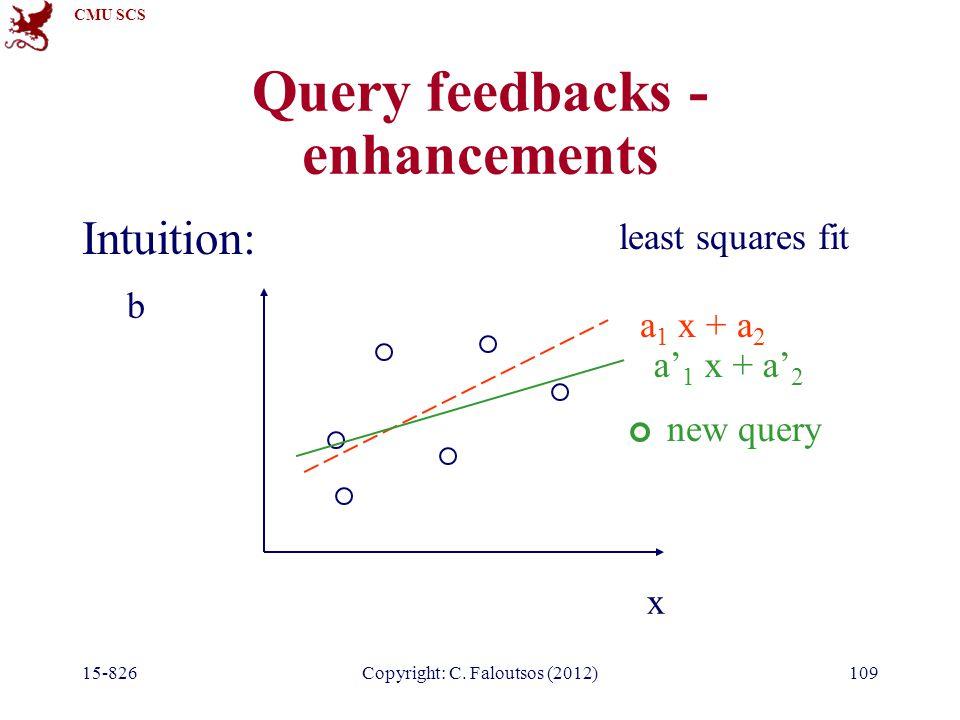 CMU SCS 15-826Copyright: C. Faloutsos (2012)109 Query feedbacks - enhancements Intuition: x b a 1 x + a 2 least squares fit new query a' 1 x + a' 2