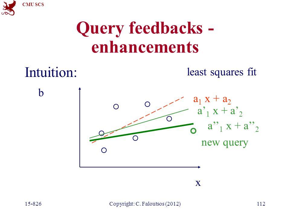 CMU SCS 15-826Copyright: C. Faloutsos (2012)112 Query feedbacks - enhancements Intuition: x b a 1 x + a 2 least squares fit new query a' 1 x + a' 2 a'