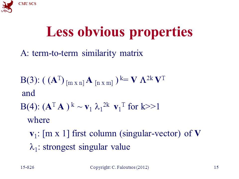 CMU SCS 15-826Copyright: C. Faloutsos (2012)15 Less obvious properties A: term-to-term similarity matrix B(3): ( (A T ) [m x n] A [n x m] ) k = V  2k