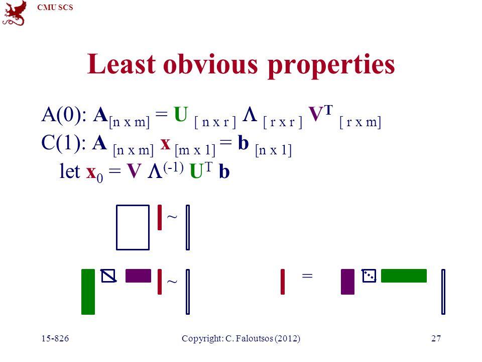 CMU SCS 15-826Copyright: C. Faloutsos (2012)27 Least obvious properties A(0): A [n x m] = U [ n x r ]  [ r x r ] V T [ r x m] C(1): A [n x m] x [m x