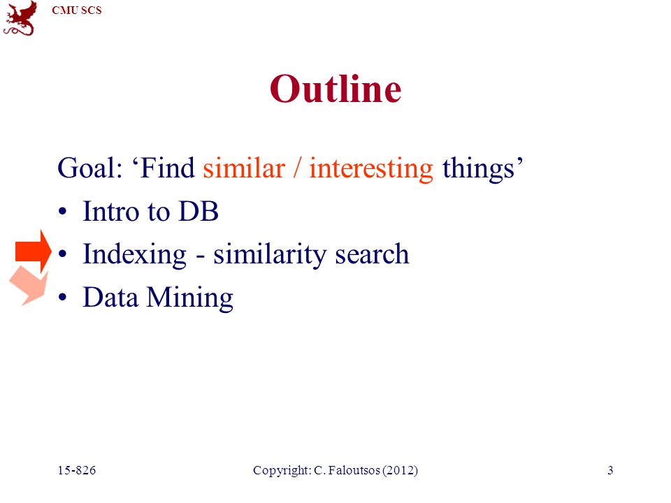 CMU SCS 15-826Copyright: C. Faloutsos (2012)3 Outline Goal: 'Find similar / interesting things' Intro to DB Indexing - similarity search Data Mining