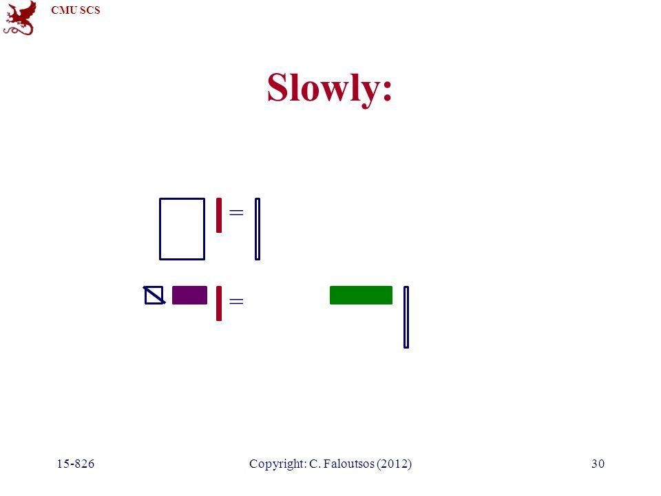 CMU SCS 15-826Copyright: C. Faloutsos (2012)30 Slowly: = =