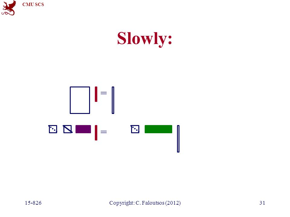 CMU SCS 15-826Copyright: C. Faloutsos (2012)31 Slowly: = =