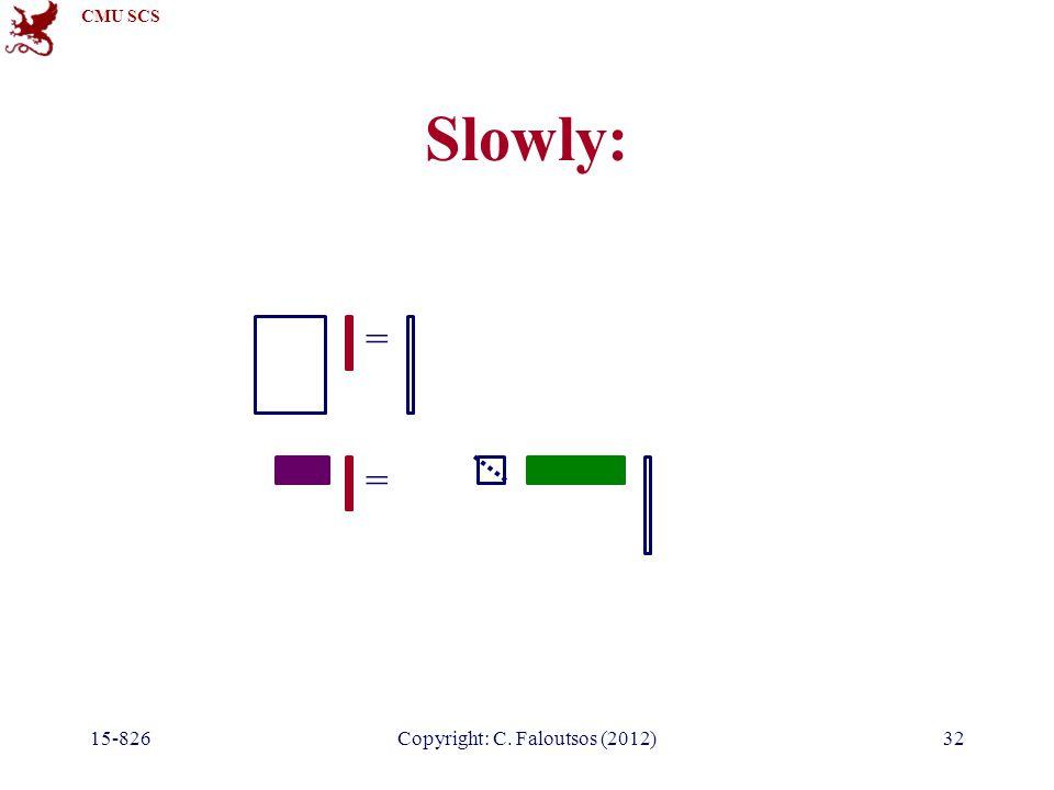 CMU SCS 15-826Copyright: C. Faloutsos (2012)32 Slowly: = =