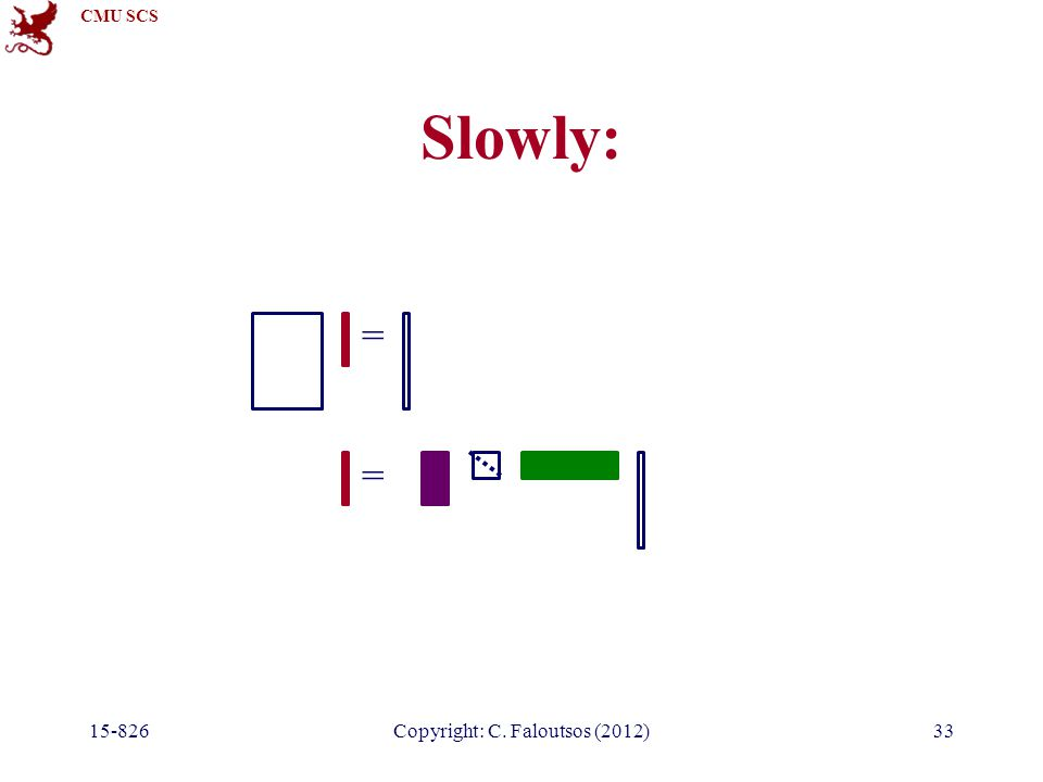 CMU SCS 15-826Copyright: C. Faloutsos (2012)33 Slowly: = =