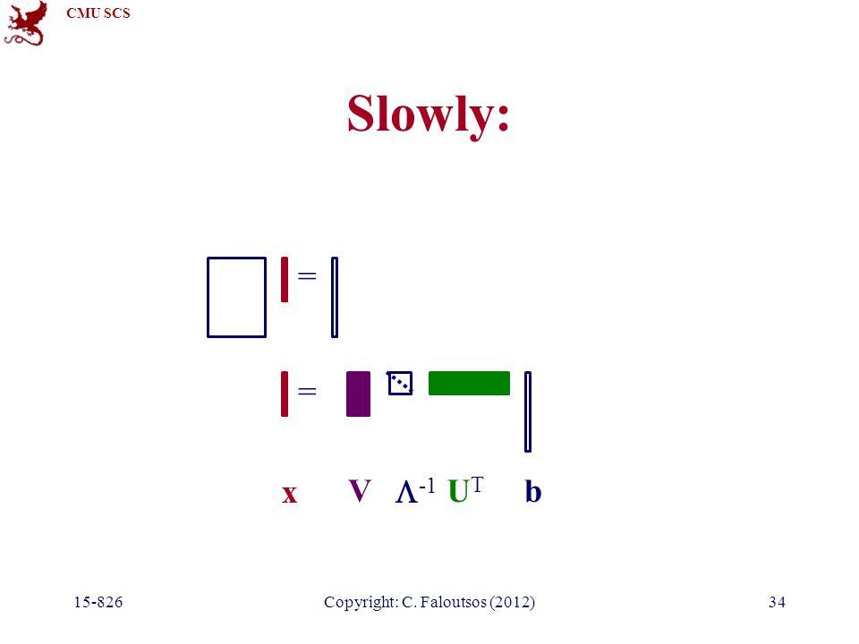 CMU SCS 15-826Copyright: C. Faloutsos (2012)34 Slowly: = = V  -1 UTUT b x