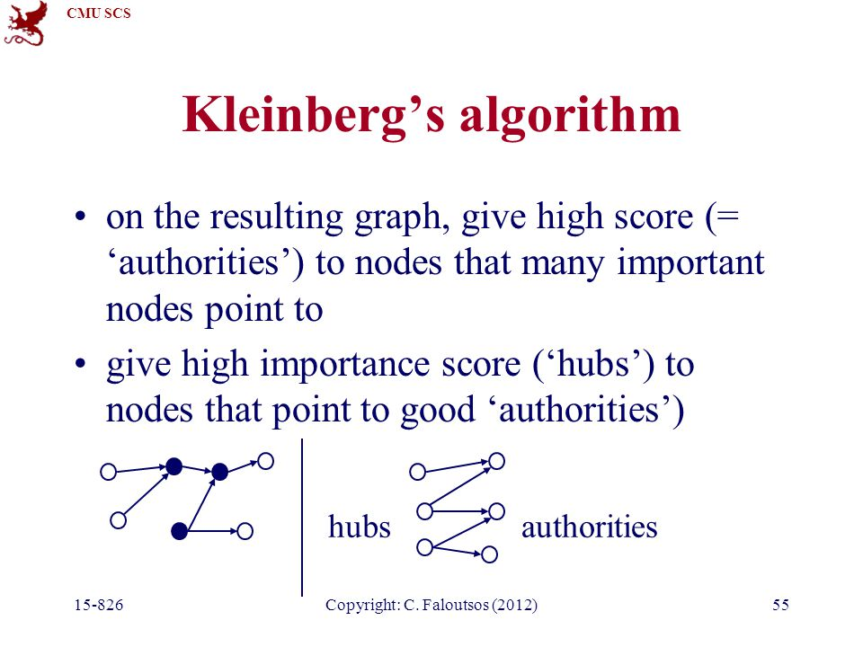 CMU SCS 15-826Copyright: C. Faloutsos (2012)55 Kleinberg's algorithm on the resulting graph, give high score (= 'authorities') to nodes that many impo