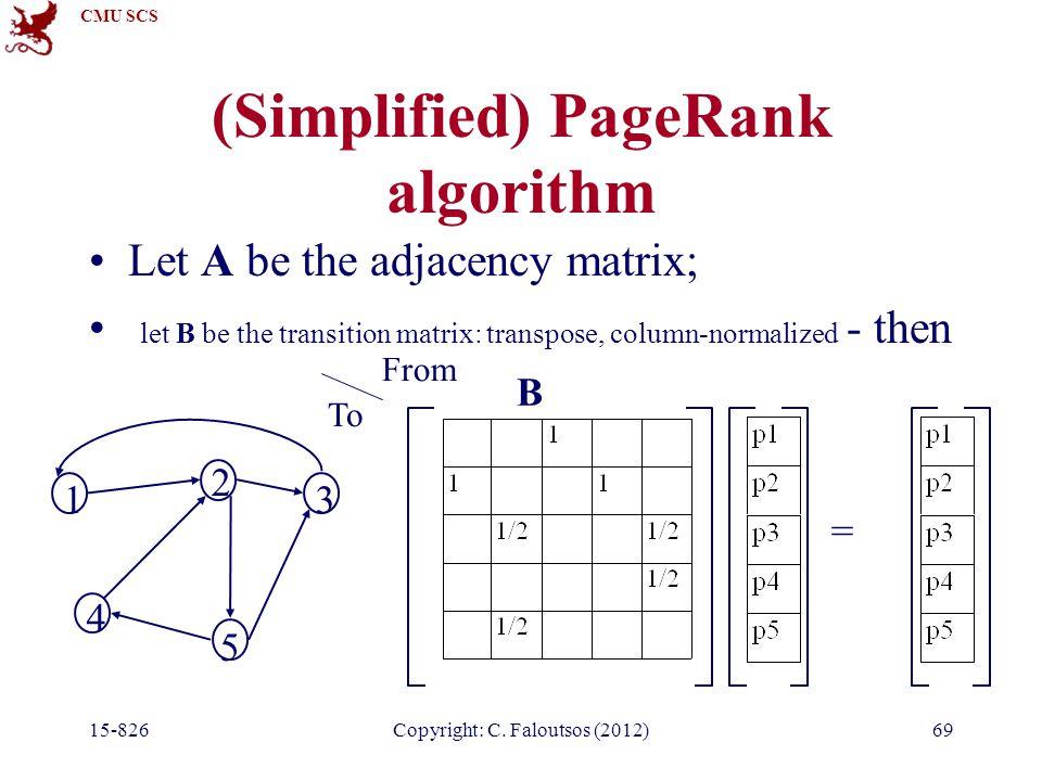 CMU SCS 15-826Copyright: C. Faloutsos (2012)69 (Simplified) PageRank algorithm Let A be the adjacency matrix; let B be the transition matrix: transpos