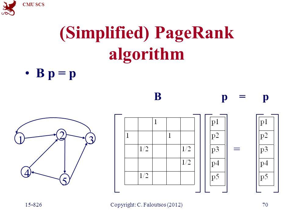 CMU SCS 15-826Copyright: C. Faloutsos (2012)70 (Simplified) PageRank algorithm B p = p = 1 2 3 4 5