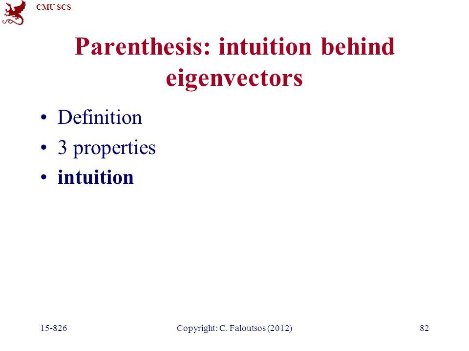 CMU SCS 15-826Copyright: C. Faloutsos (2012)82 Parenthesis: intuition behind eigenvectors Definition 3 properties intuition