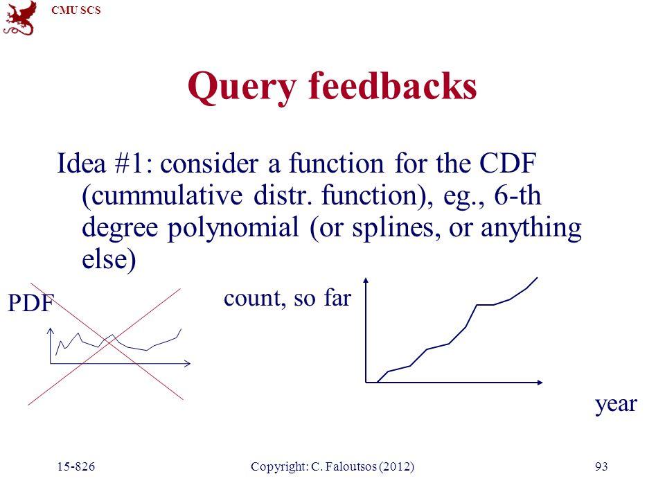 CMU SCS 15-826Copyright: C. Faloutsos (2012)93 Query feedbacks Idea #1: consider a function for the CDF (cummulative distr. function), eg., 6-th degre