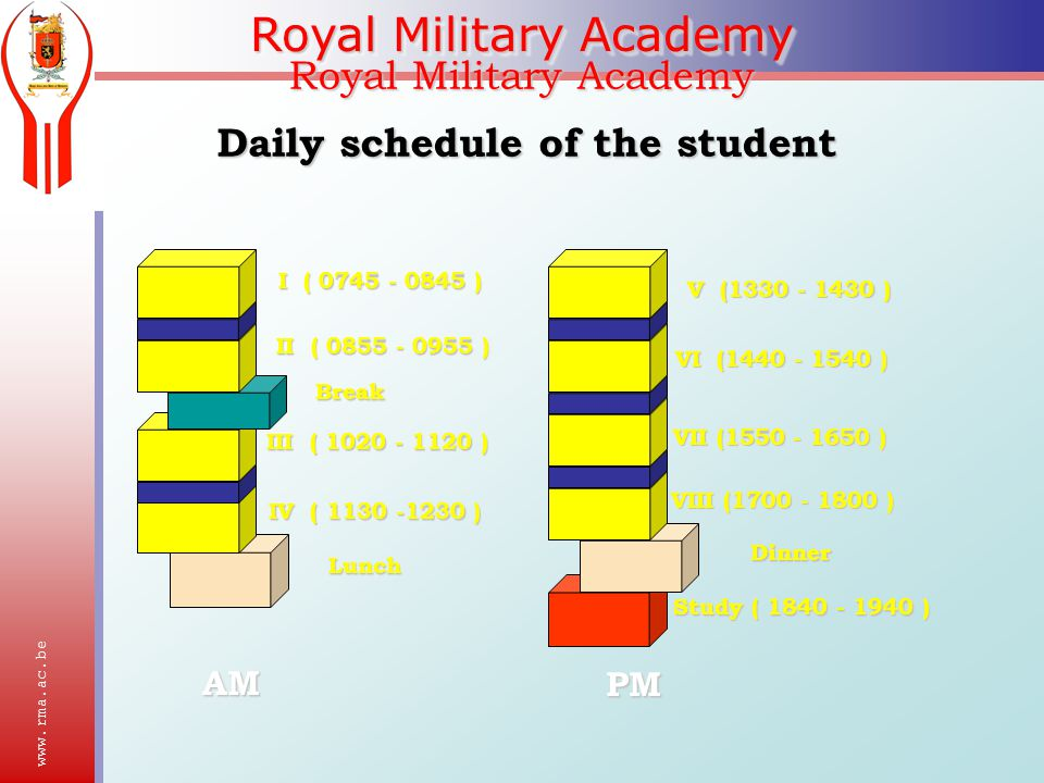 Royal Military Academy Daily schedule of the student I ( ) II ( ) IV ( ) Lunch III ( ) Break V ( ) VI ( ) VII ( ) VIII ( ) Dinner Study ( ) AM PM