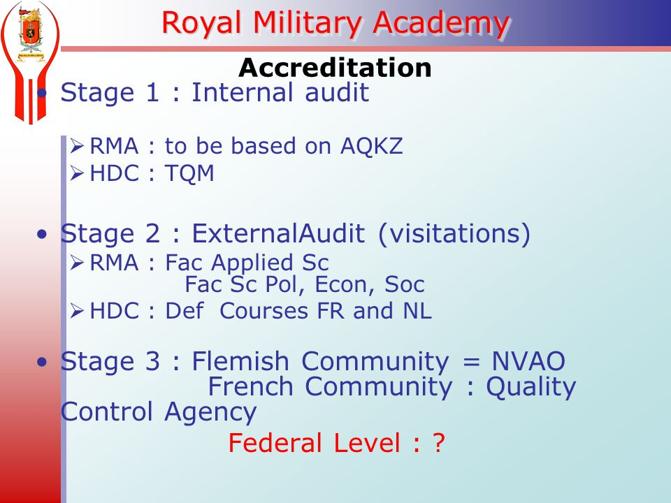 Royal Military Academy Accreditation Stage 1 : Internal audit  RMA : to be based on AQKZ  HDC : TQM Stage 2 : ExternalAudit (visitations)  RMA : Fac Applied Sc Fac Sc Pol, Econ, Soc  HDC : Def Courses FR and NL Stage 3 : Flemish Community = NVAO French Community : Quality Control Agency Federal Level :