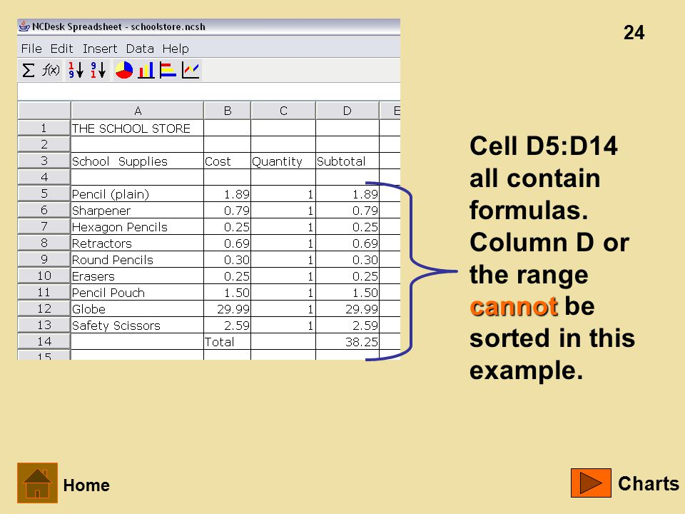24 cannot Cell D5:D14 all contain formulas. Column D or the range cannot be sorted in this example.