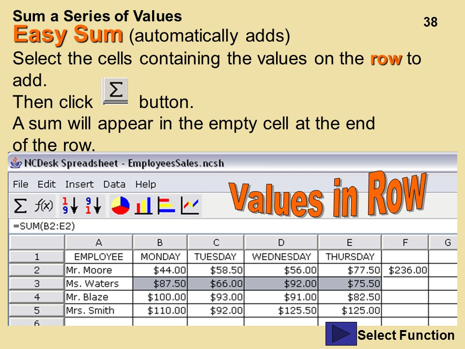 38 Easy Sum Easy Sum (automatically adds) row Select the cells containing the values on the row to add.