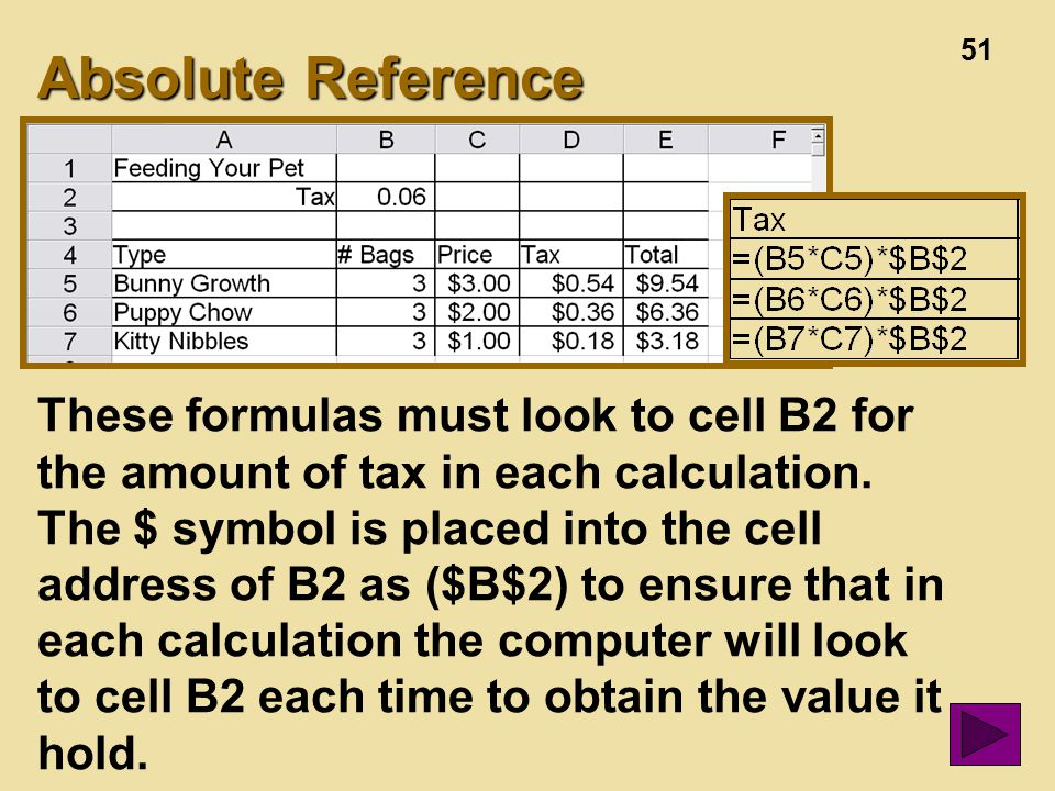51 Absolute Reference These formulas must look to cell B2 for the amount of tax in each calculation.