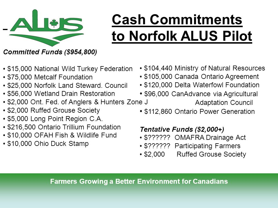 15 Farmers Growing a Better Environment for Canadians Committed Funds ($954,800) $15,000 National Wild Turkey Federation $75,000 Metcalf Foundation $25,000 Norfolk Land Steward.