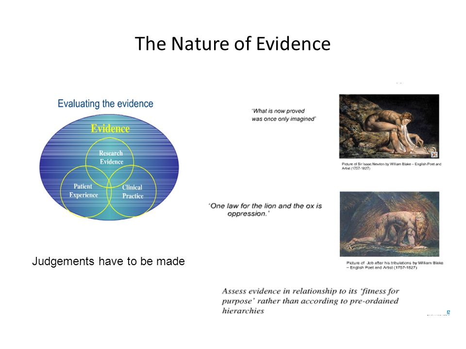 The Nature of Evidence Judgements have to be made