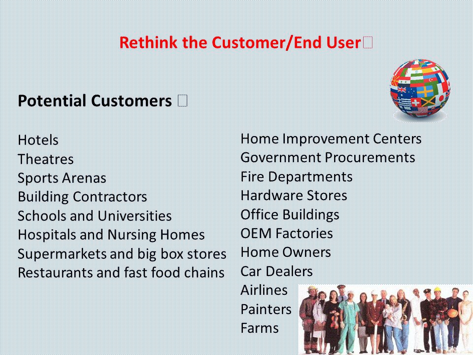 Rethink the Customer/End User Potential Customers Hotels Theatres Sports Arenas Building Contractors Schools and Universities Hospitals and Nursing Homes Supermarkets and big box stores Restaurants and fast food chains Home Improvement Centers Government Procurements Fire Departments Hardware Stores Office Buildings OEM Factories Home Owners Car Dealers Airlines Painters Farms