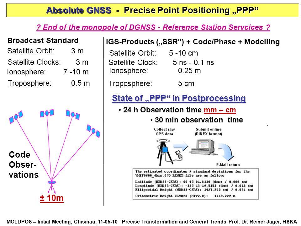 MOLDPOS – Initial Meeting, Chisinau, 11-05-10 Precise Transformation and General Trends Prof. Dr. Reiner Jäger, HSKA Satellite Orbit: 3 m Satellite Cl