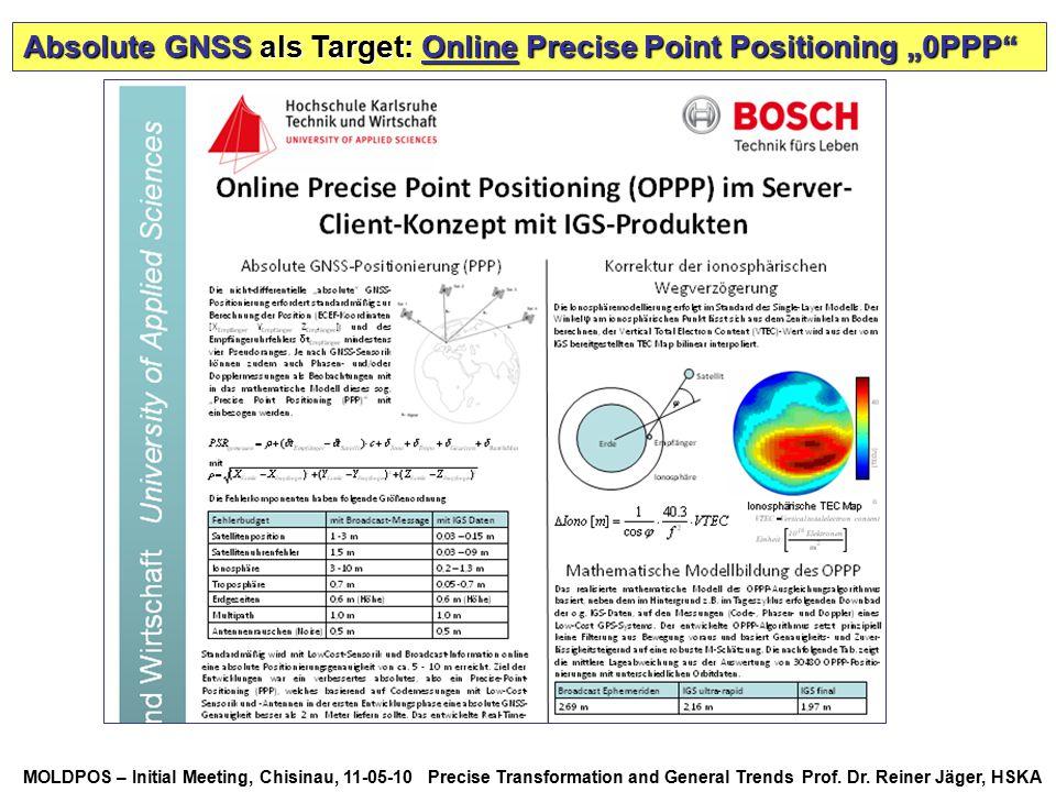 MOLDPOS – Initial Meeting, Chisinau, 11-05-10 Precise Transformation and General Trends Prof. Dr. Reiner Jäger, HSKA Absolute GNSS als Target: Online