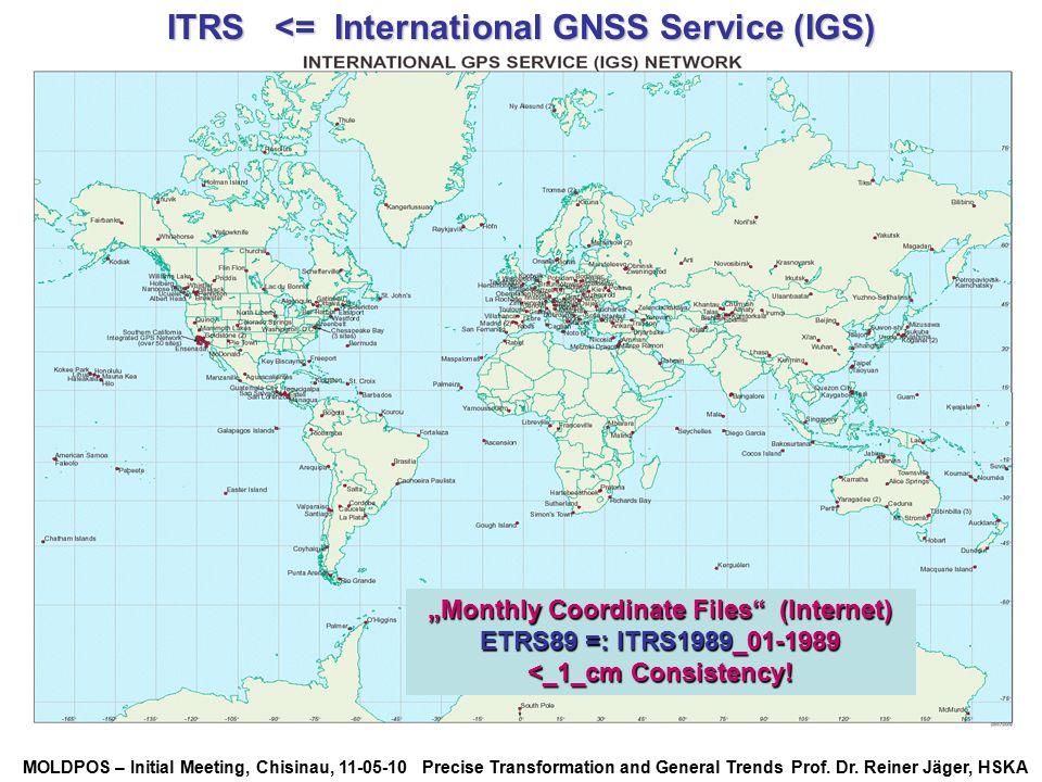MOLDPOS – Initial Meeting, Chisinau, 11-05-10 Precise Transformation and General Trends Prof. Dr. Reiner Jäger, HSKA ITRS <= International GNSS Servic