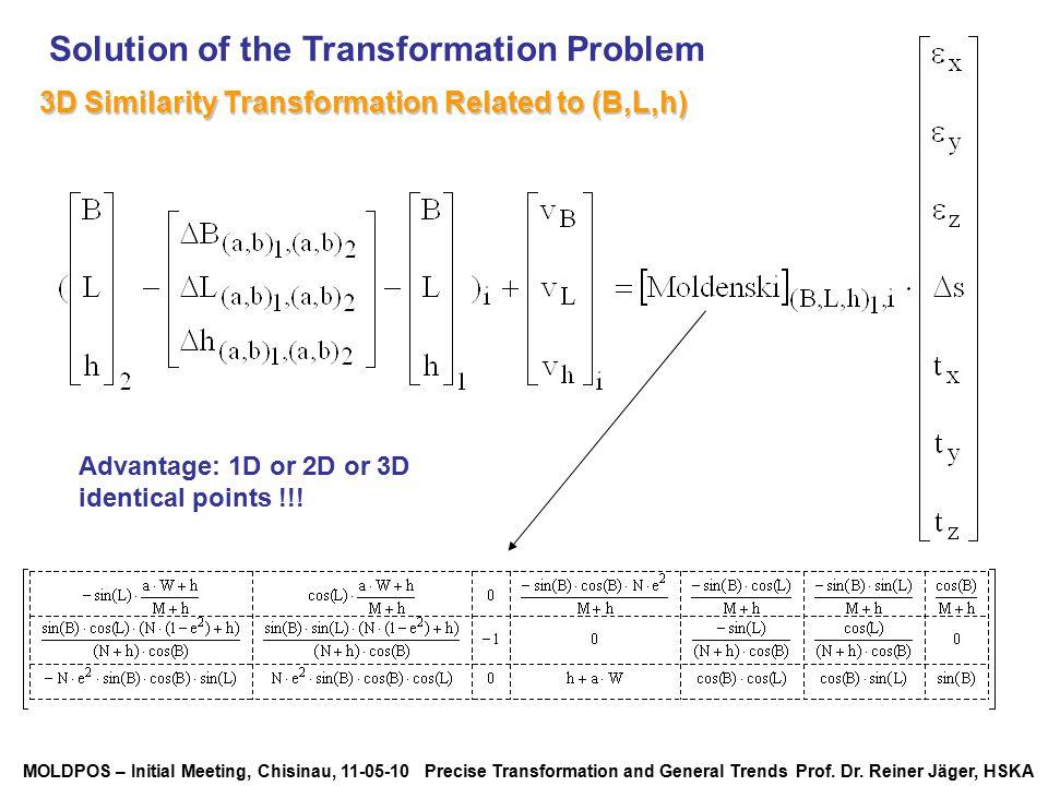 MOLDPOS – Initial Meeting, Chisinau, 11-05-10 Precise Transformation and General Trends Prof. Dr. Reiner Jäger, HSKA Solution of the Transformation Pr