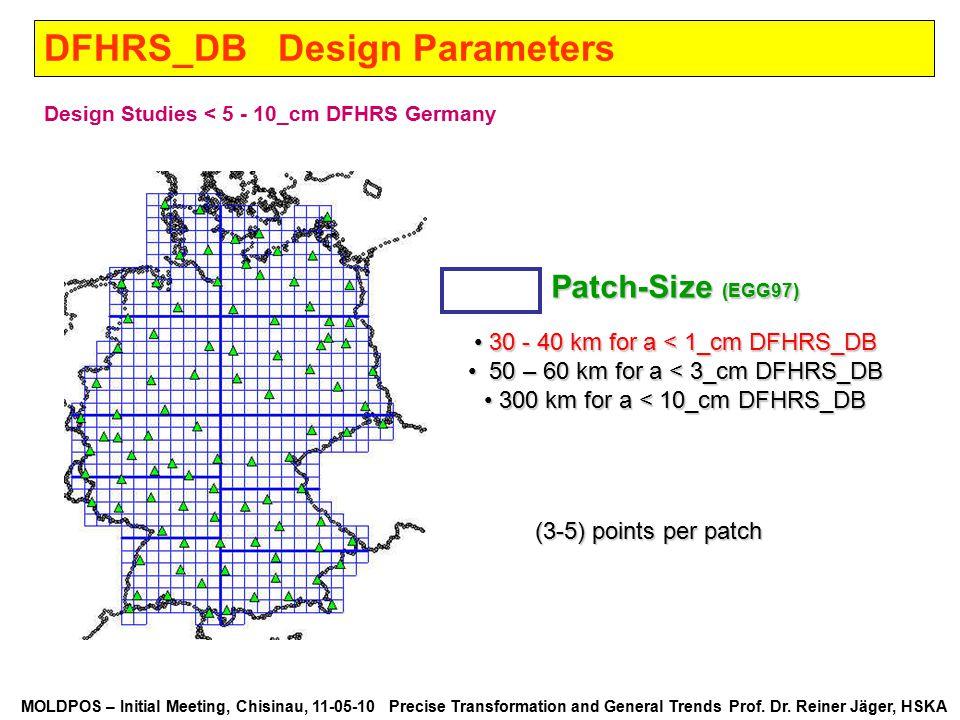 MOLDPOS – Initial Meeting, Chisinau, 11-05-10 Precise Transformation and General Trends Prof. Dr. Reiner Jäger, HSKA DFHRS_DB Design Parameters Design