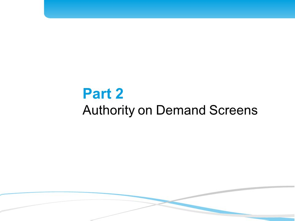 10 Part 2 Authority on Demand Screens