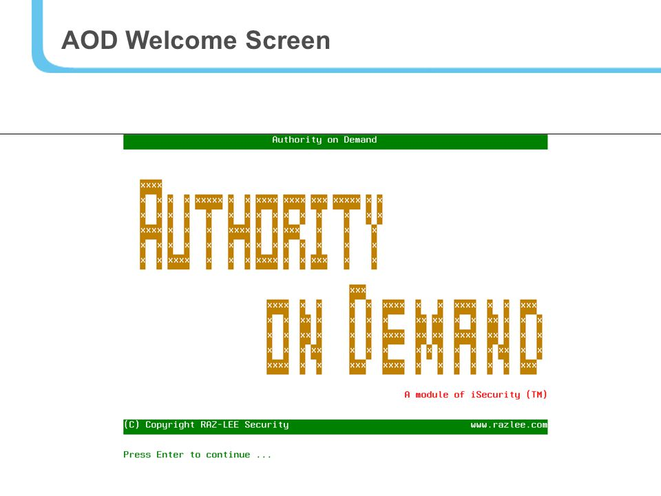 11 AOD Welcome Screen