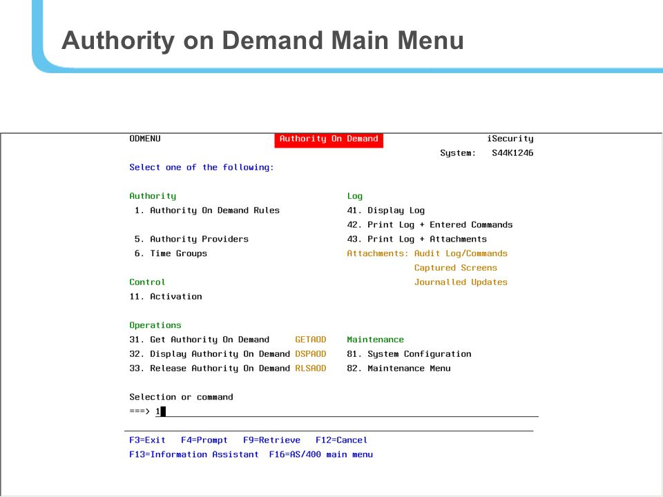13 Authority on Demand Main Menu