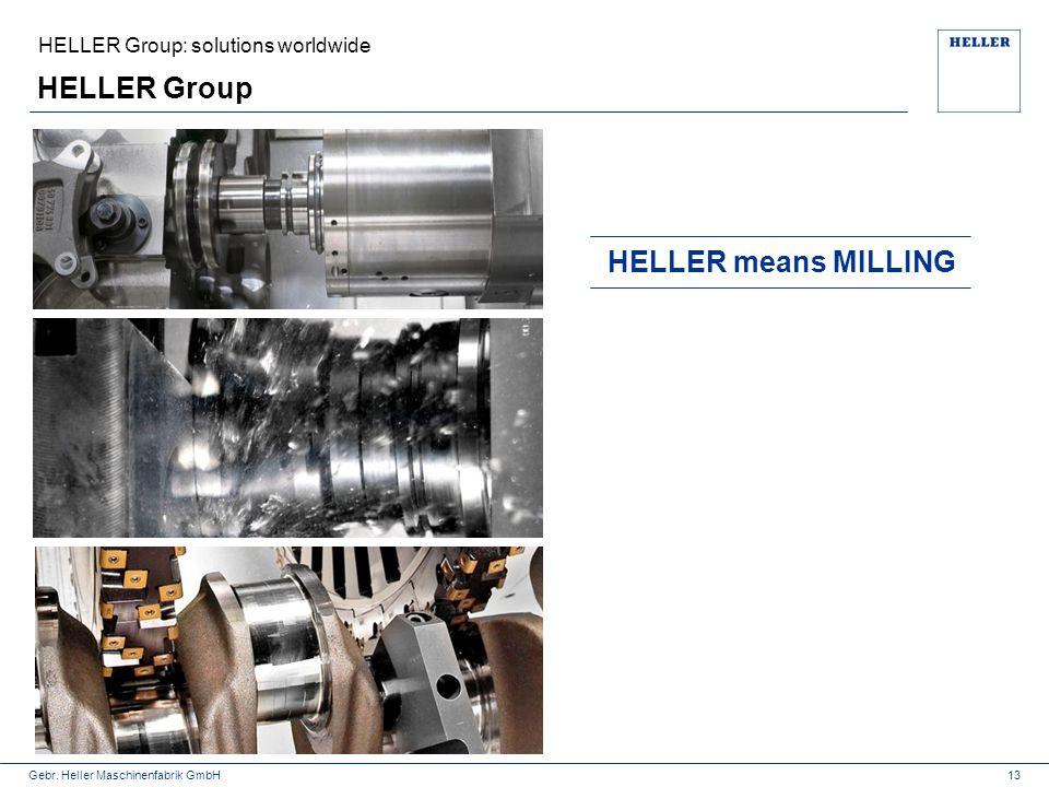 Gebr. Heller Maschinenfabrik GmbH HELLER Group 13 HELLER means MILLING HELLER Group: solutions worldwide