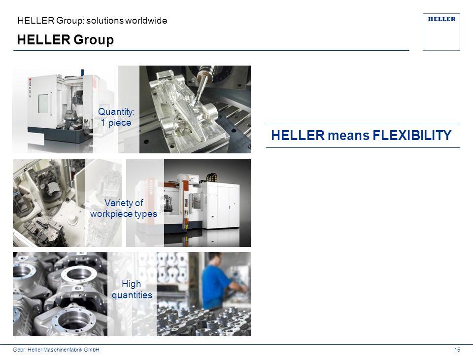 Gebr. Heller Maschinenfabrik GmbH HELLER Group 15 HELLER means FLEXIBILITY High quantities HELLER Group: solutions worldwide Variety of workpiece type