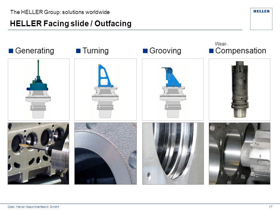 Gebr. Heller Maschinenfabrik GmbH HELLER Facing slide / Outfacing The HELLER Group: solutions worldwide 17 GeneratingTurningGroovingCompensation Wear-