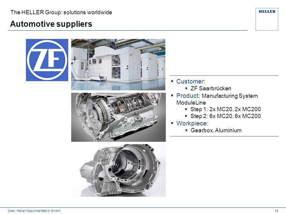 Gebr. Heller Maschinenfabrik GmbH The HELLER Group: solutions worldwide Automotive suppliers  Customer:  ZF Saarbrücken  Product: Manufacturing Sys