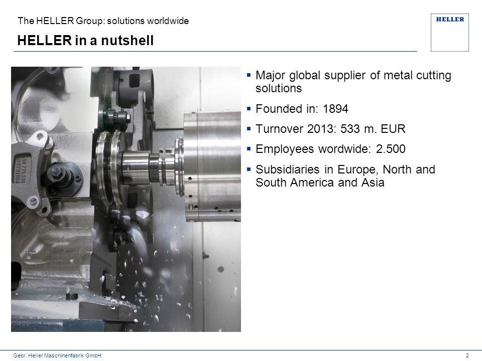 Gebr. Heller Maschinenfabrik GmbH The HELLER Group: solutions worldwide HELLER in a nutshell  Major global supplier of metal cutting solutions  Foun