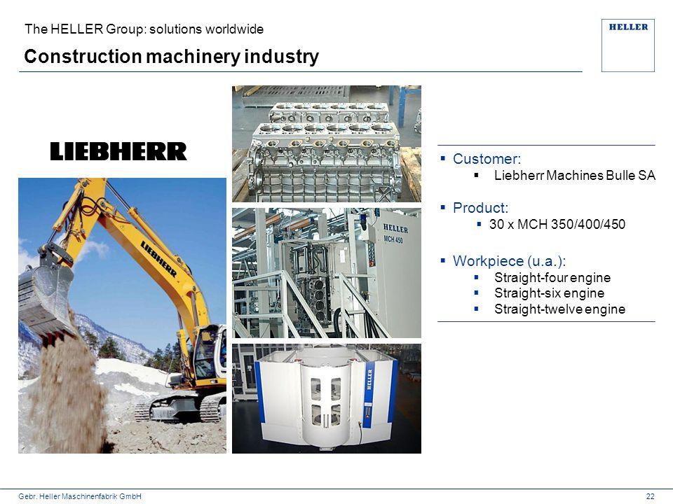 Gebr. Heller Maschinenfabrik GmbH Construction machinery industry 22  Customer:  Liebherr Machines Bulle SA  Product:  30 x MCH 350/400/450  Work