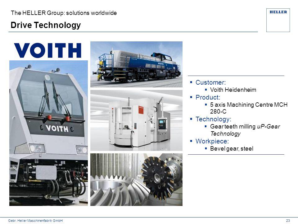 Gebr. Heller Maschinenfabrik GmbH The HELLER Group: solutions worldwide Drive Technology  Customer:  Voith Heidenheim  Product:  5 axis Machining