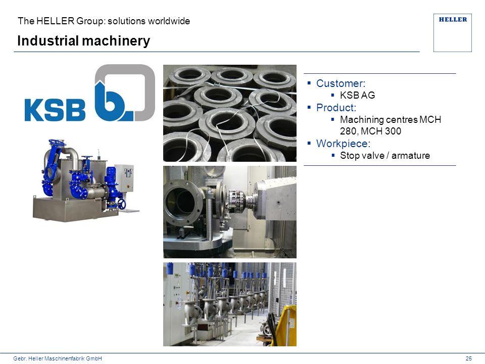 Gebr. Heller Maschinenfabrik GmbH Industrial machinery The HELLER Group: solutions worldwide  Customer:  KSB AG  Product:  Machining centres MCH 2