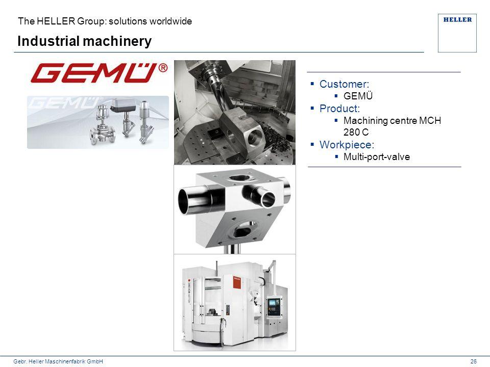 Gebr. Heller Maschinenfabrik GmbH Industrial machinery  Customer:  GEMÜ  Product:  Machining centre MCH 280 C  Workpiece:  Multi-port-valve 26 T