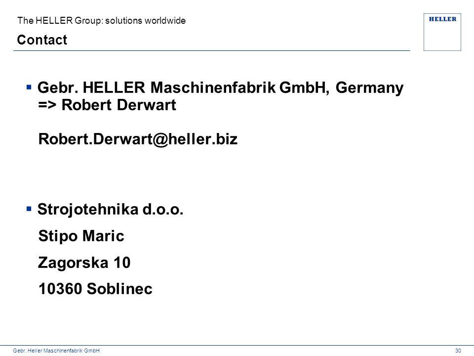Gebr. Heller Maschinenfabrik GmbH Contact The HELLER Group: solutions worldwide 30  Gebr. HELLER Maschinenfabrik GmbH, Germany => Robert Derwart Robe