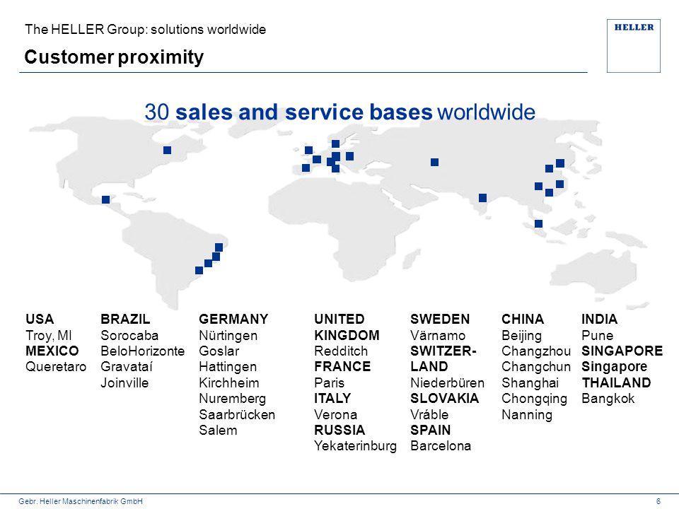 Gebr. Heller Maschinenfabrik GmbH Customer proximity The HELLER Group: solutions worldwide 6 30 sales and service bases worldwide CHINA Beijing Changz